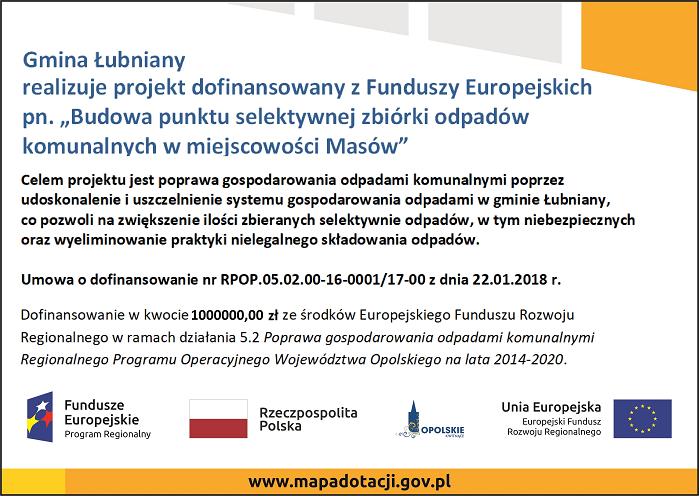 """Gmina Łubniany realizuje projekt dofinansowany z Funduszy Europejskich pn. """"Budowa punktu selektywnej zbiórki odpadów komunalnych w miejscowości Masów"""""""