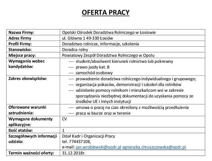 Oferta pracy - Opolski Ośrodek Doradztwa Rolniczego w Łosiowie