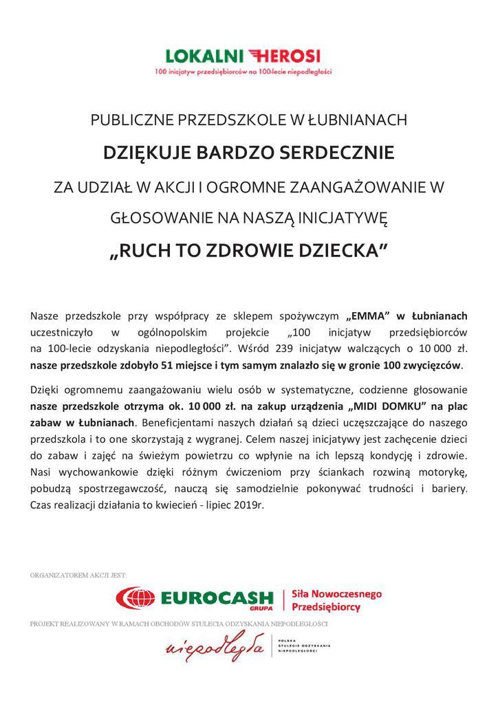 Podziękowanie Publicznego Przedszkola w Łubnianach