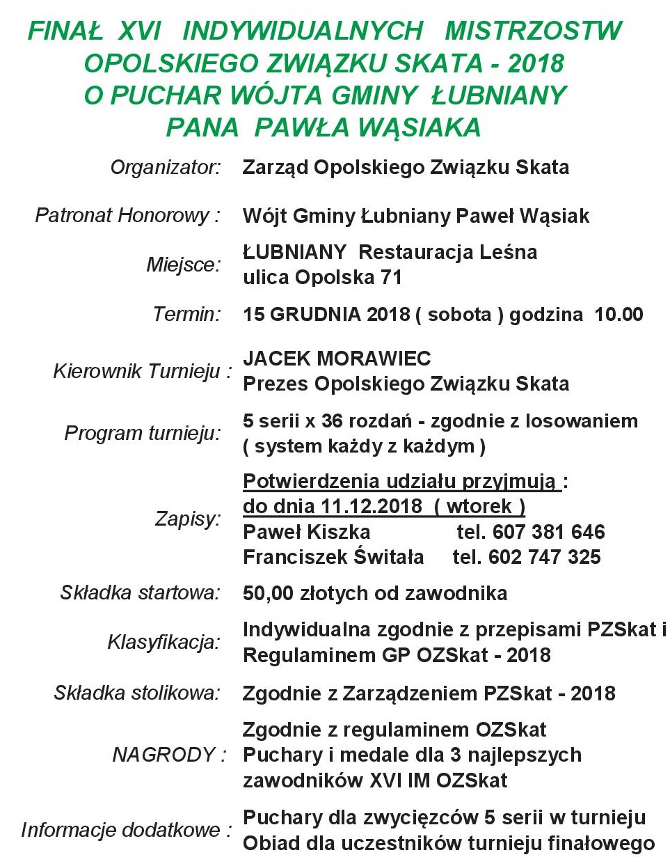 Finał XVI Indywidualnych Mistrzostw Opolskiego Związku Skata – 2018 o Puchar Wójta Gminy  Łubniany Pana Pawła Wąsiaka