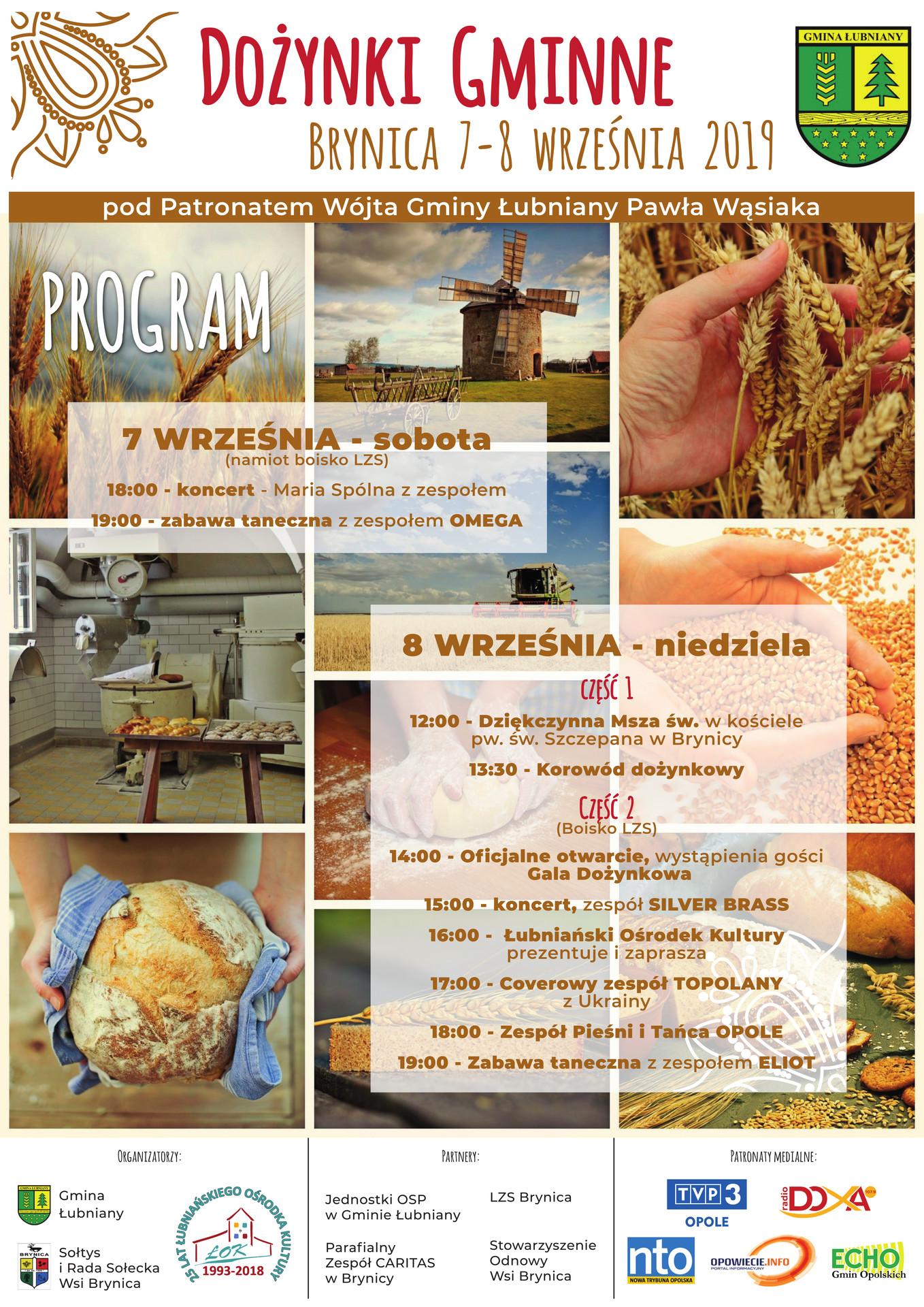 Plakat promujący dożynki gminne, które odbędą się w dniach 7-8 września w Brynicy