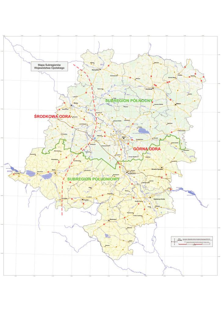 Subregiony województwa opolskiego - mapa poglądowa