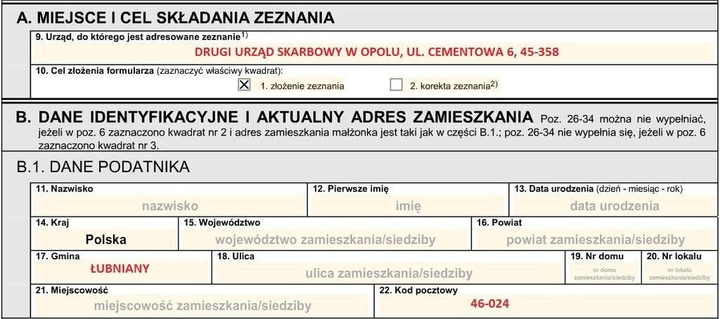 Na zdjęciu widoczny fragment formularza PIT-37 z zaznaczonym punktem 9 - DRUGI URZĄD SKARBOWY UL. CEMENTOWA 6, 45-358, oraz punktem 17. ŁUBNIANY