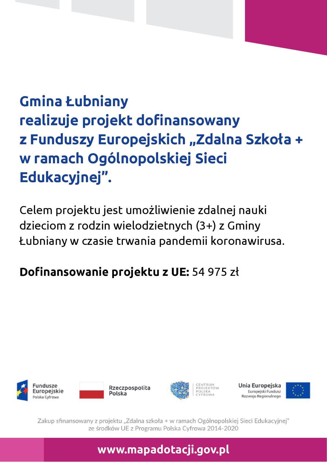 """Gmina Łubniany realizuje projekt dofinansowany z Funduszy Europejskich """"Zdalna Szkoła + w ramach Ogólnopolskiej Sieci Edukacyjnej"""""""