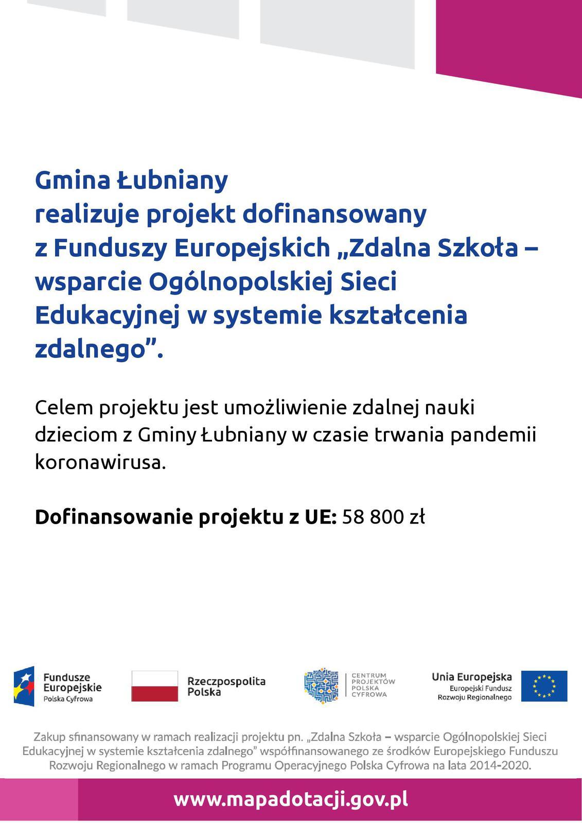 """Gmina Łubniany realizuje projekt dofinansowany z Funduszy Europejskich """"Zdalna Szkoła – wsparcie Ogólnopolskiej Sieci Edukacyjnej w systemie kształcenia zdalnego"""""""