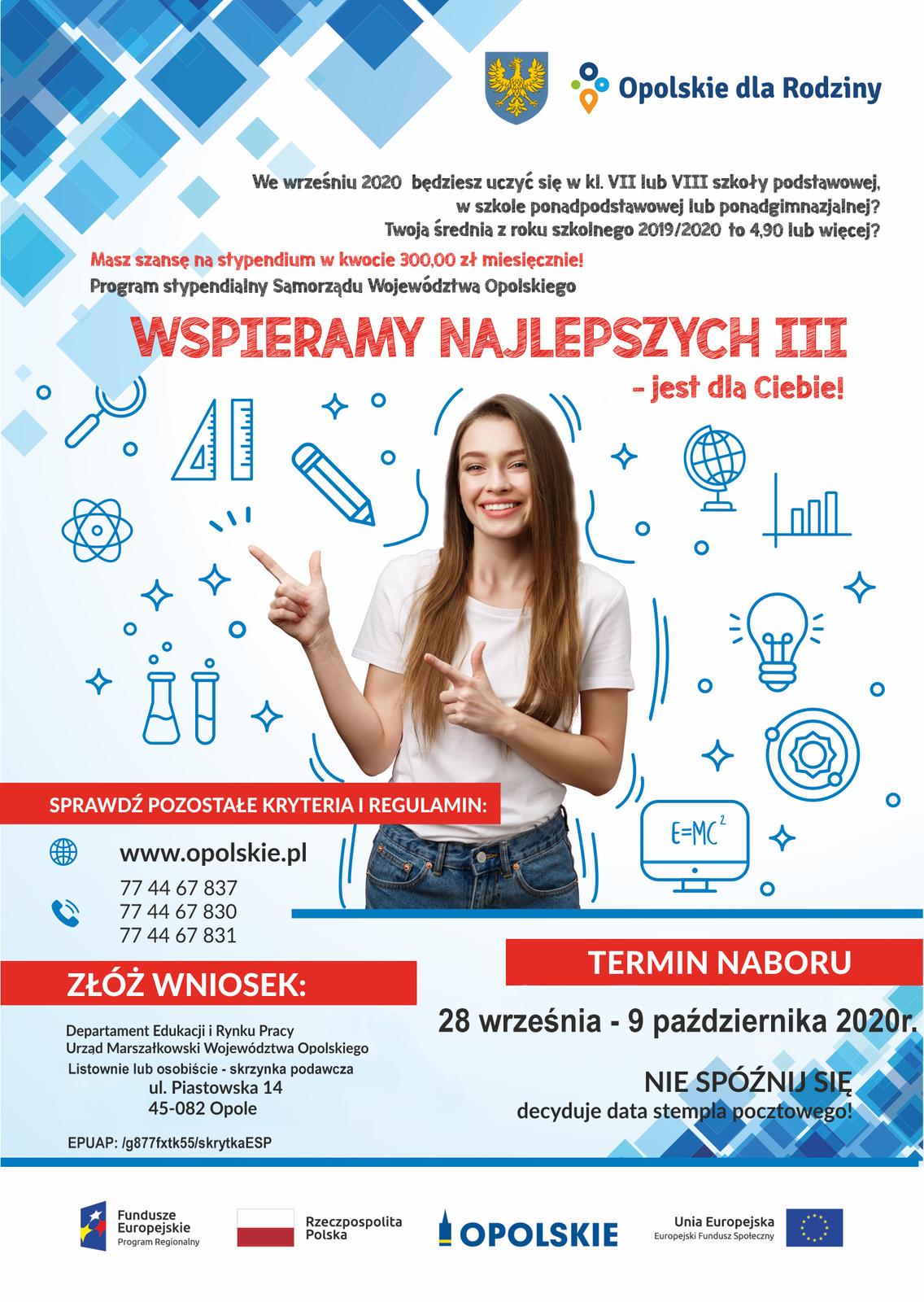 Plakat informujący o programie stypendialnym