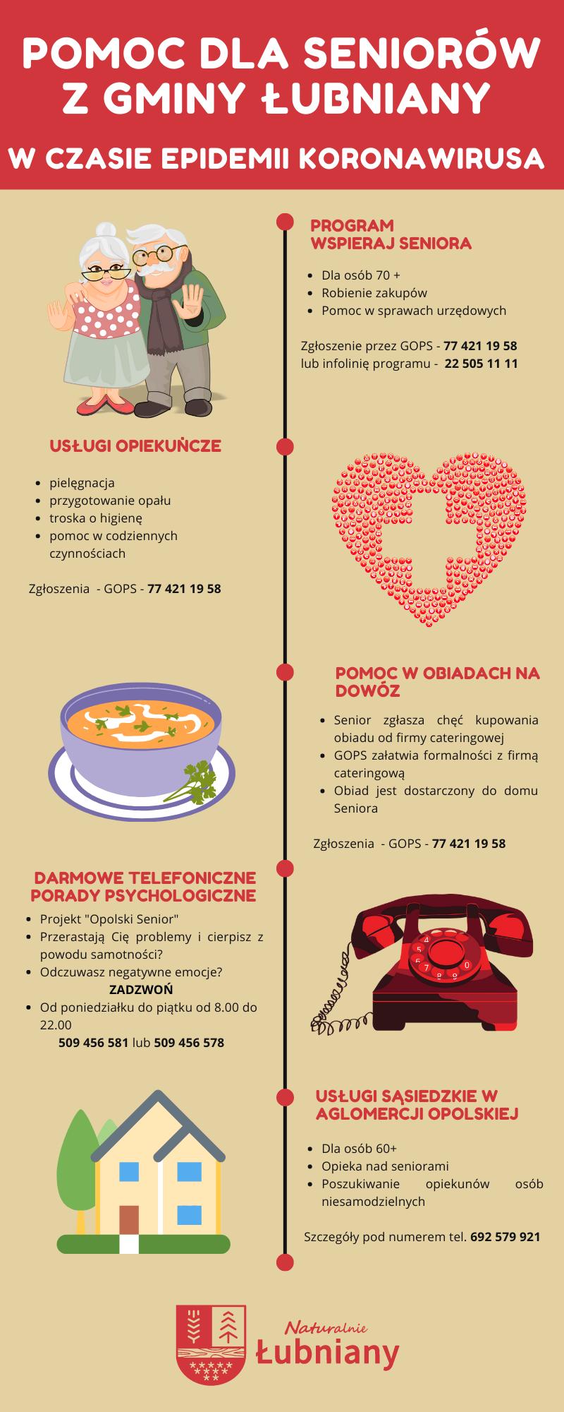 Grafika przedstawia formy pomocy, z jakich może skorzystać senior z Gminy Łubniany. Pomoc oferowana jest przez GOPS w Łubnianach, a także przez organizacje pożytku publicznego