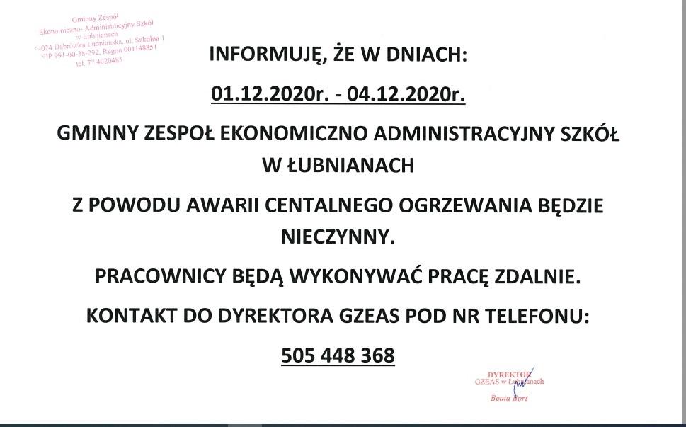 Gminny Zespół Ekonomiczo-Administracyjny Szkół w Łubnianach informuje o zmianie trybu pracy spowodowanego awarią centralnego ogrzewania