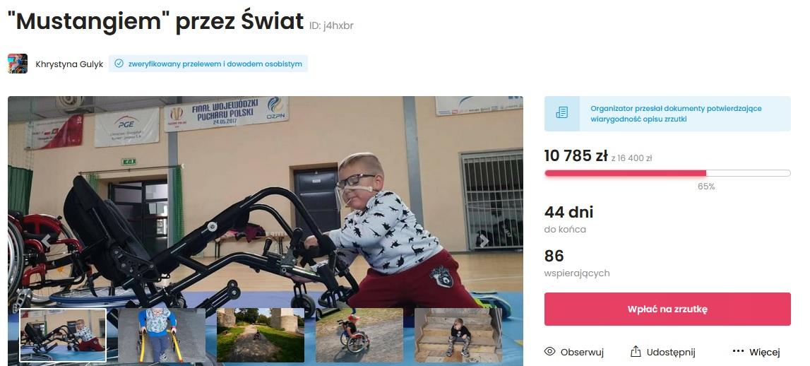 Screen z portalu zrzutka.pl. Widać uzbieraną kwotę (ponad 10 tysięcy) i kwotę, która brakuje - ponad 6 tysięcy