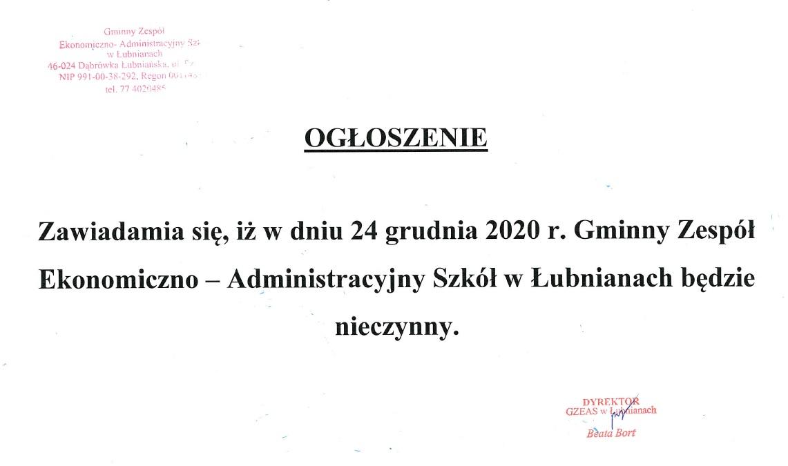 W dniu 24 grudnia 2020 r. Gminny Zespół Ekonomiczno-Administracyjny Szkół w Łubnianach będzie nieczynny