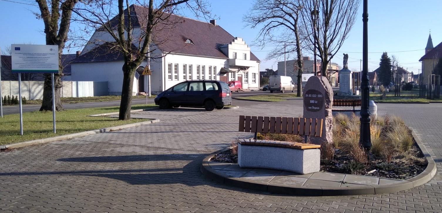 Zdjęcie przedstawiające centrum wsi Brynica po zakończeniu prac w ramach projektu