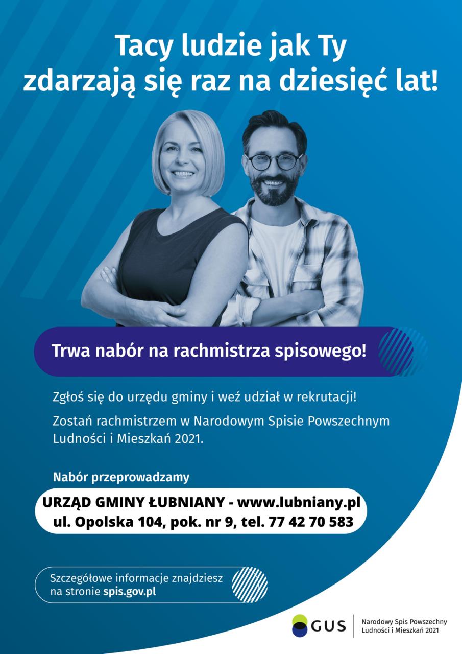 Plakat informujący o naborze na rachmistrza spisowego w ramach Narodowego Spisu Powszechnego Ludności i Mieszkań w roku 2021
