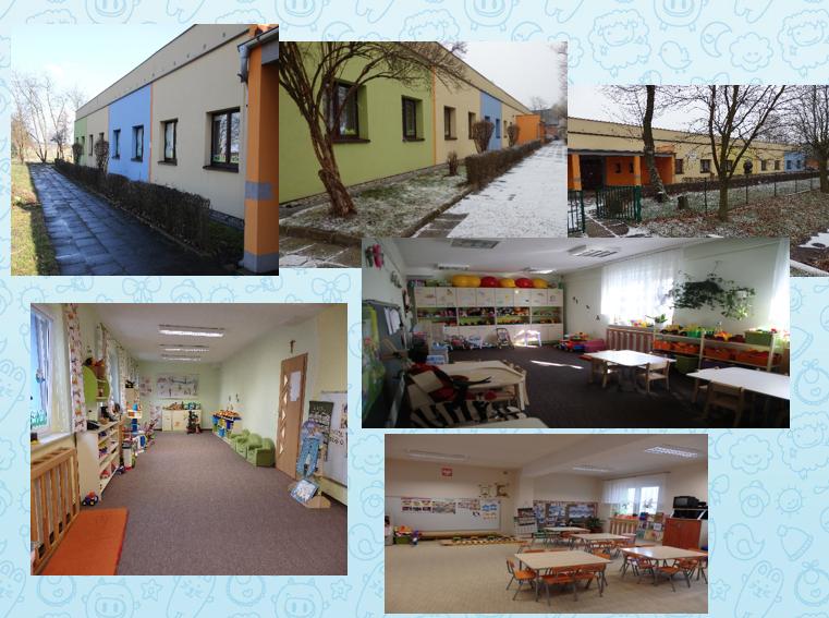 Na zdjęciu znajduje się sześć ujęć Publicznego Przedszkola w Jełowej, zestawionych w kolaż. Trzy fotografie znajdujące się na górze przedstawiają budynek z zewnątrz, natomiast trzy na dołu kolażu - sale przedszkole wewnątrz.