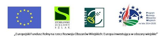 """Na grafice znajdują się logotypy Unii Europejskiej, Stobrawskiego Zielonego Szlaku, Leader oraz Programu Rozwoju Obszarów Wiejskich. U dołu tekst: """"Europejski Fundusz Rolny na rzecz Rozwoju Obszarów Wiejskich: Europa inwestująca w obszary wiejskie"""""""