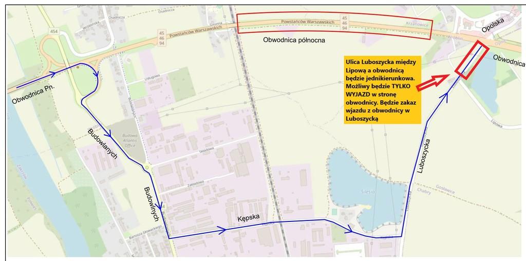 Mapka prezentująca objazd remontowanego odcinka obwodnicy północnej Opola