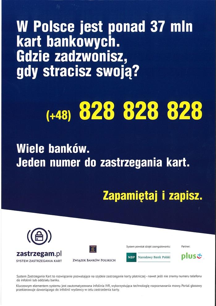 Plakat promujący projekt projekt Systemu Zastrzegania Kart