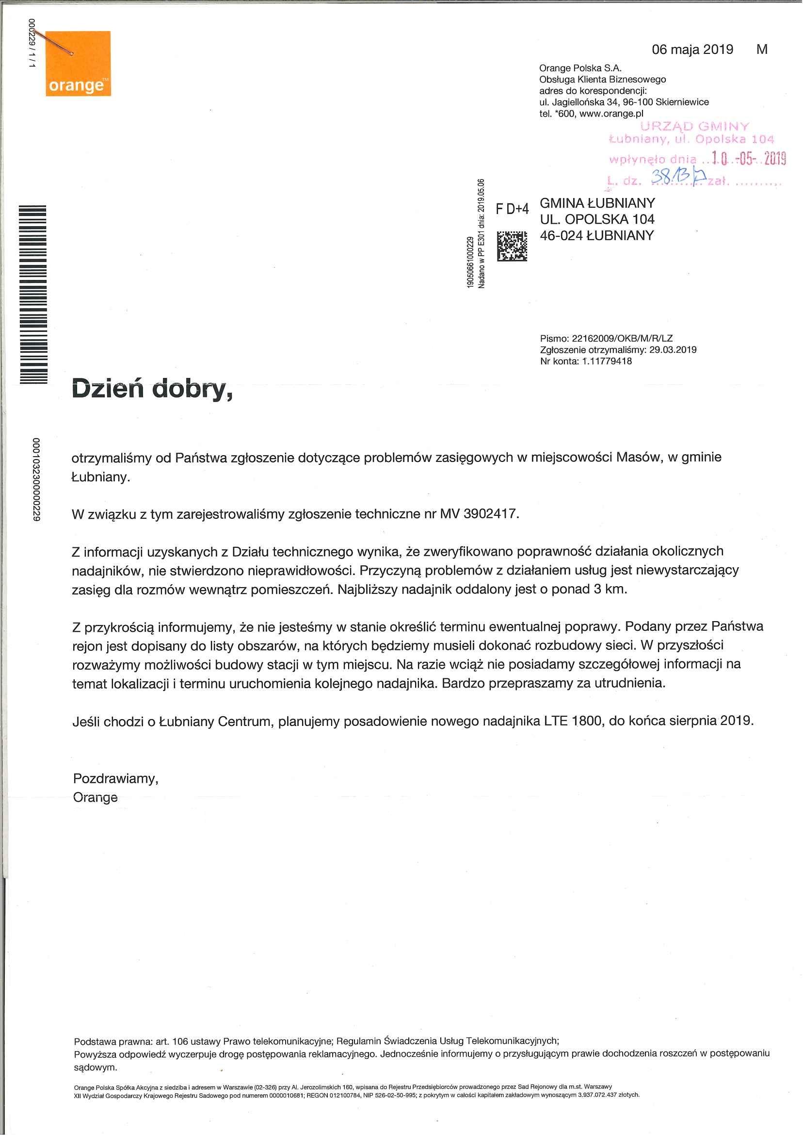 Odpowiedź firmy Orange - problem z zasięgiem w miejscowości Masów