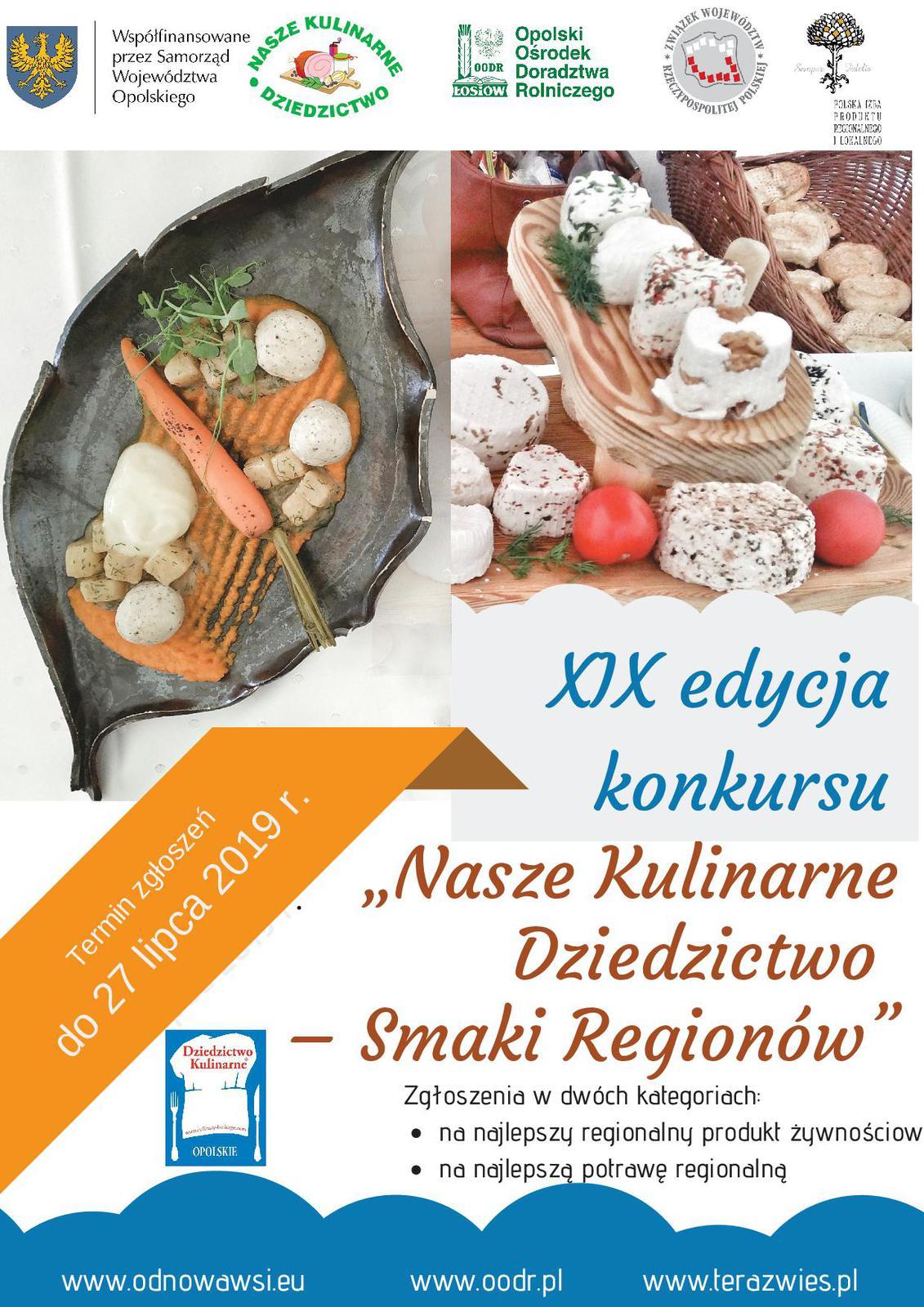 """PLAKAT XIX edycja Konkursu """"Nasze Kulinarne Dziedzictwo – Smaki Regionów"""""""