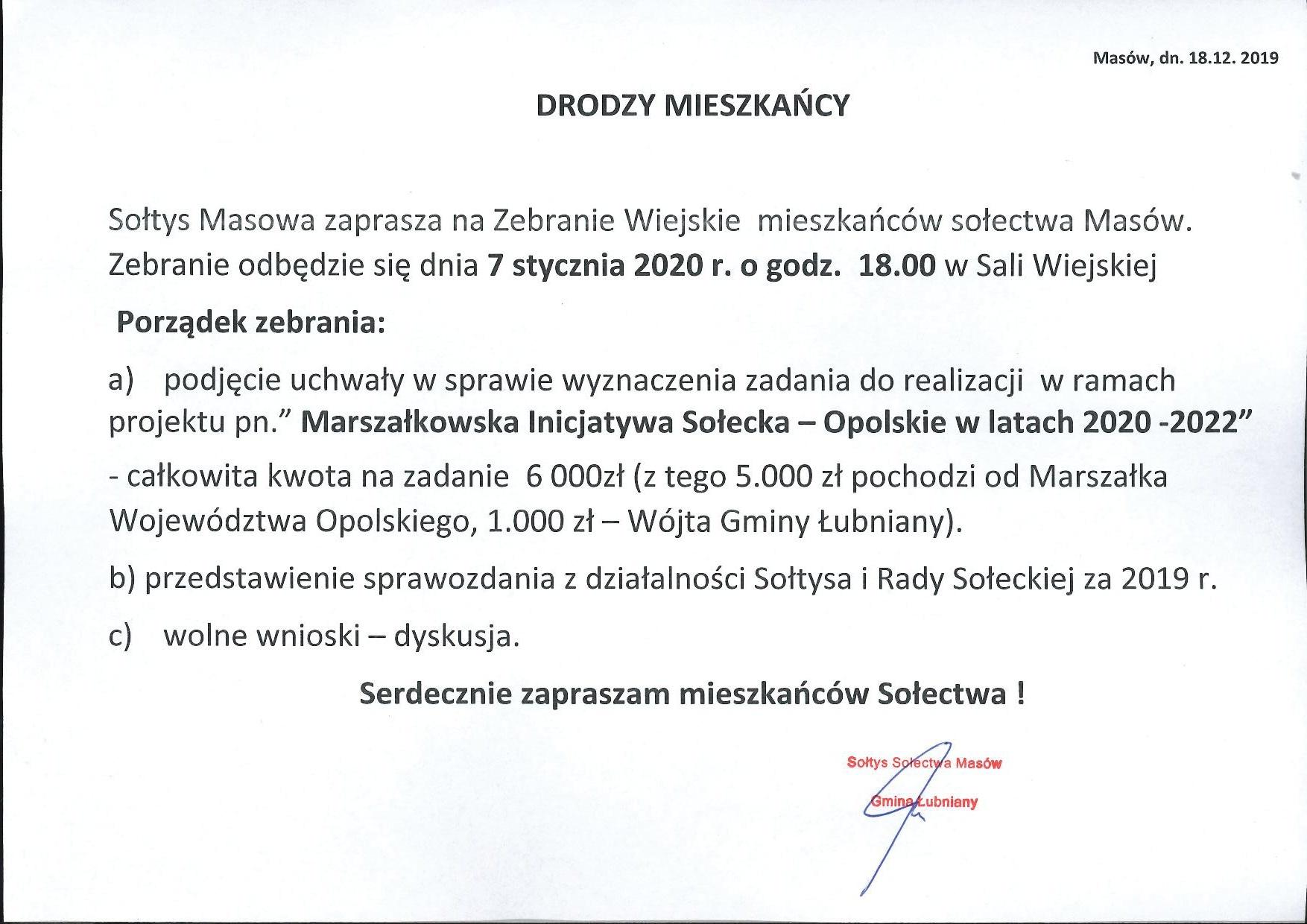 Ogłoszenie o zebraniu wiejskim w dniu 7 stycznia 2020 r.