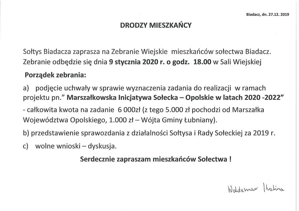 Ogłoszenie o zebraniu wiejskim w dniu 9 stycznia 2020 r.