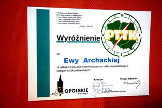Dyplom dla Ewy Archackiej