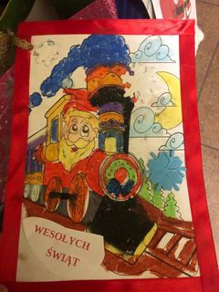 Kartka świąteczna przygotowana własnoręcznie przez przedszkolaki