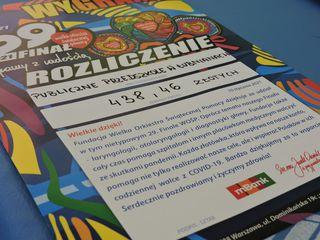 Na zdjęciu podziękowanie dla Przedszkola w Łubnianach za zbiórkę na WOŚP