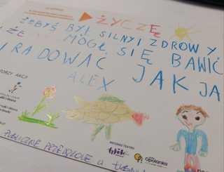 Kartka od przedszkolaka z życzeniami